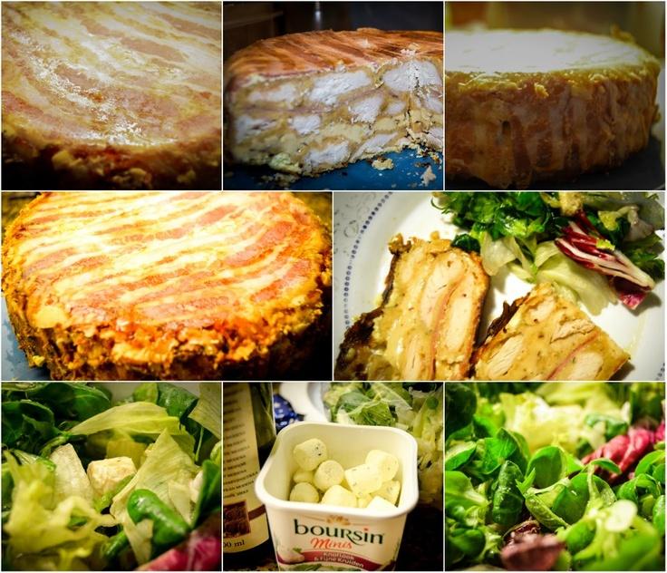 Gevulde 'bacon-taart' (klaar) met sla   (vulling: gepaneerde kippenborst, geraspte jonge gouda en gerookte kaas, creme fraiche, schouderham)