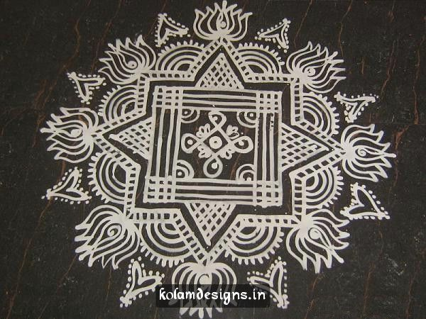 Simple Maa Kolam. I can make this work. Ill project it onto my wall and use washi tape to trace.