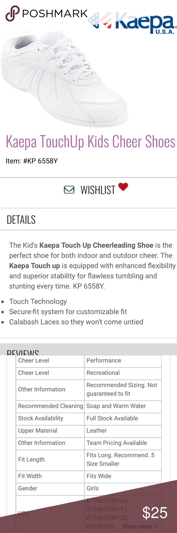 EUC Kaepa Touch Up White Cheer Shoes Youth Size 1 ThIs pair of Kaepa brand Touch Up White, low top Cheer Shoes in Youth Size 1 comes in excellent used condition.  All specifications are listed in the images. Kaepa Shoes Sneakers