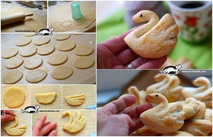 Réalisez de petits gâteaux sablés en forme de cygne - Des idées