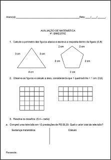 SOS PROFESSOR-ATIVIDADES: Avaliação de matemática 4