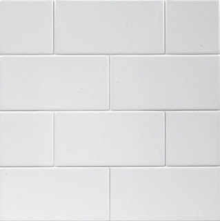 white subway tile - lower half of bathroom walls