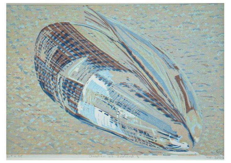 prenten zeeland / Groeten uit Zeeland 3 reductielino op papier, 21 x 10 cm.