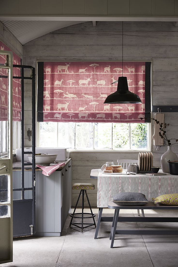 Roman Blind in our Wild and Free fabric in Mallow bordered with Harris Tweed fabric in Storm