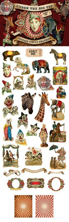 This is a collection of 30+ vintage circus and circus-inspired graphics including clowns, zebras, giraffe, tiger, elephant, bear, ticket, banner, frame and paper backgrounds. Also included is the curt