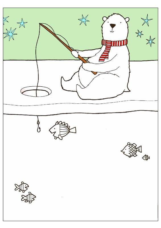 Ours polaire à la pêche... dessin à compléter!