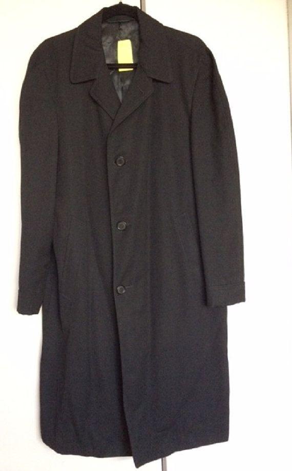 Navy 1940's Men's gaberdine overcoat/ topcoat by StarfishandRose
