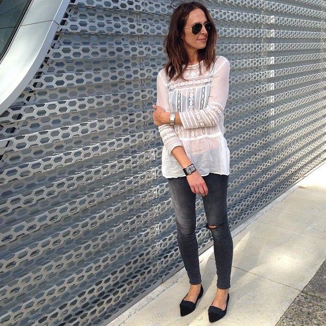 I'm a jeans girl #lovemydenim @Derek Maguire Petersen-Maria ballets #zara top #Hermes cuff