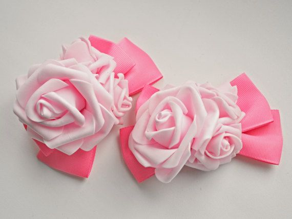 Bubblegum Pink Bow Hairclip With Roses  by MadameMuffinStore