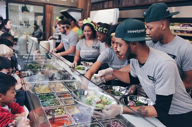 our rittenhouse team is all hands on deck to serve some very special guests — 75 students from greenfield elementary, our local sweetgreen in schools partner. we've worked with these kids for two years, teaching them about nutrition, sustainability and seasonality, so they can make healthy, informed decisions about what they eat. thanks to our new location at 1821 chestnut, we're just 3 blocks away from the school and get to see the kids even more. #sginschools