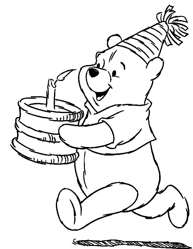 winnie the pooh carry birthday cake coloring pages - Pooh Bear Coloring Pages Birthday