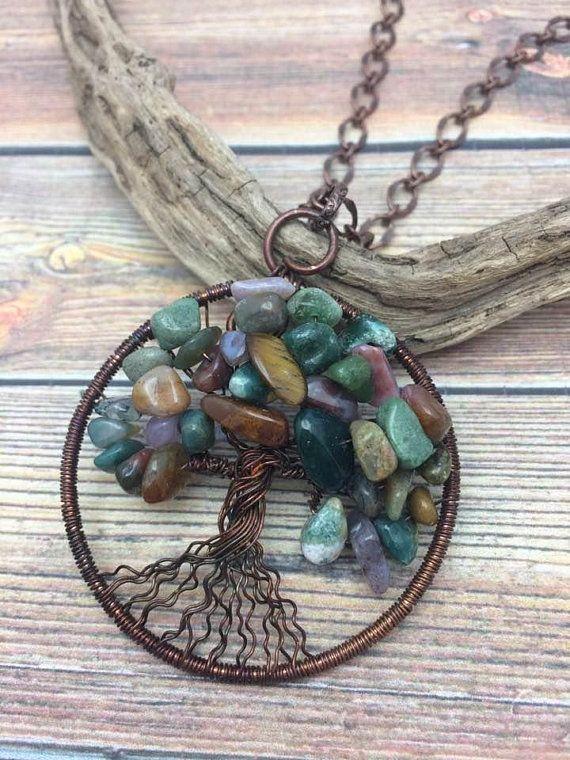 Tree of Life Multi gemstone Wire Wrap