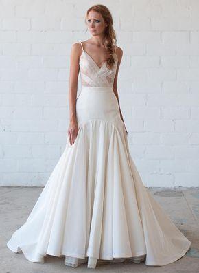 Tara LaTour Fall 2016 white illusion V-neckline bodice and trumpet silhouette wedding dress   https://www.theknot.com/content/tara-latour-wedding-dresses-bridal-fashion-week-fall-2016