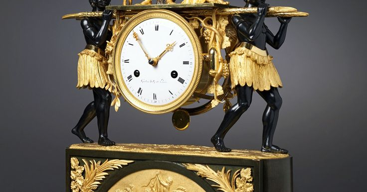 Pierre-Francois-Gaston Jolly An Empire mantel clock of eight day duration by Pierre-Francois-Gaston Jolly, Paris, date circa 1800-05 Signed on the white enamel dial Gaston Jolly à Paris Patinated and gilt bronze Height 46 cm, width 32 cm, depth 12 cm.