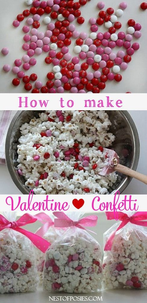 Valentine Confetti - Nest of bag of M&M's *Almost* 2 bags of Orville  Redenbacher's microwaveable Tender White Popcorn 1 bag of of Wilton's  Confetti Candy ...