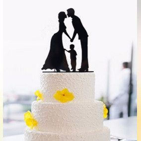 """Wedding Cake Topper (Son Boy Child Children Family /Engagement /Anniversary) Material: Acrylic - Color: Black Approx. Size: 5.5"""" x 4.2"""" (14cm x 10.6cm) - Style: Bride & Groom Kissing, Hands Holding /H"""