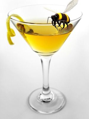 The Bees' Knees cocktail recipe. Flavored with honey and lemon and perfect for a spring baby shower drink.