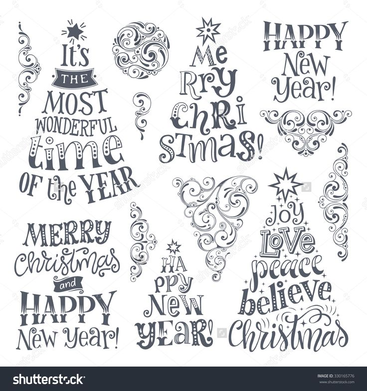 Vector set of holidays lettering and ornamental elements. Merry Christmas and Happy New Year text lettering for invitation and greeting card, prints and posters. Hand drawn calligraphic design – Kadr_92