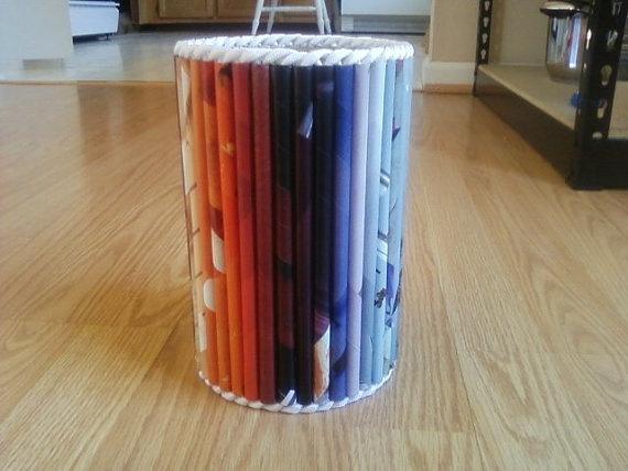Rolled Magazine Storage Can by CornerOfCreativity on Etsy, $12.00