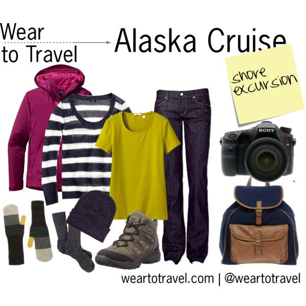 """""""Wear to Travel: Alaska Cruise Shore Excursion"""" by weartotravel on Polyvore. Light layers (t-shirt, sweater, waterproof jacket), jeans, hat, gloves, wool socks, hiking boots, canvas backpack and, of course, your camera."""