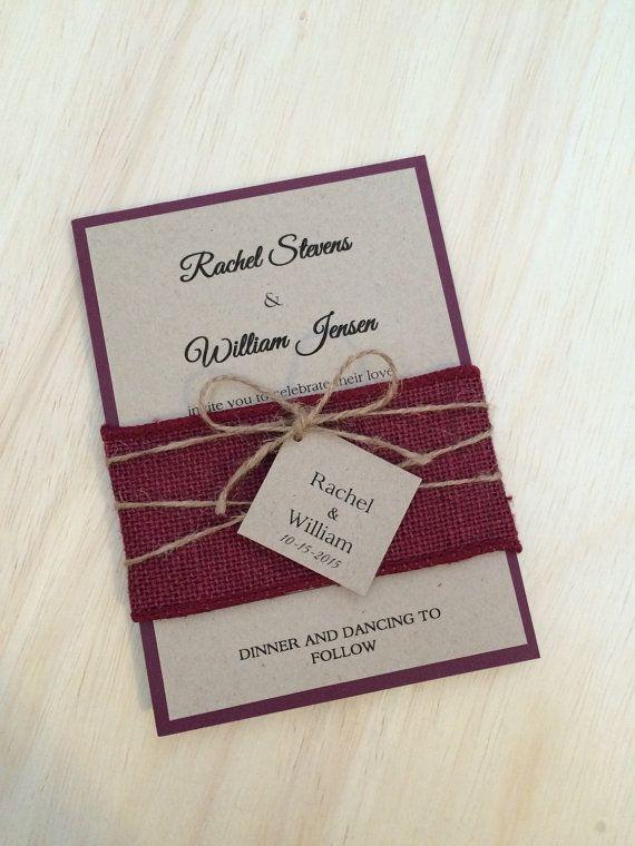 Rustic wedding invitation burlap wedding от WeddingSpecialties