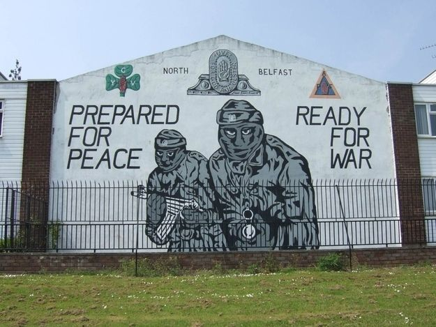 This was a famous wall mural in Belfast during the troubles which represented the lifes lost and families ruined because of division of Ireland and Northern Ireland