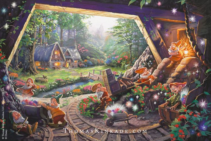 """Introducing """"Snow White and the Seven Dwarfs"""" – the newest Disney Limited Edition Art release from The Thomas Kinkade Studios! In this masterwork, we revisited the tale of the beautiful princess and her seven delightful companions. Our goal in creating this image was to capture the fun personalities of each of the Seven Dwarfs while incorporating other iconic characters and elements from the classic Disney film."""