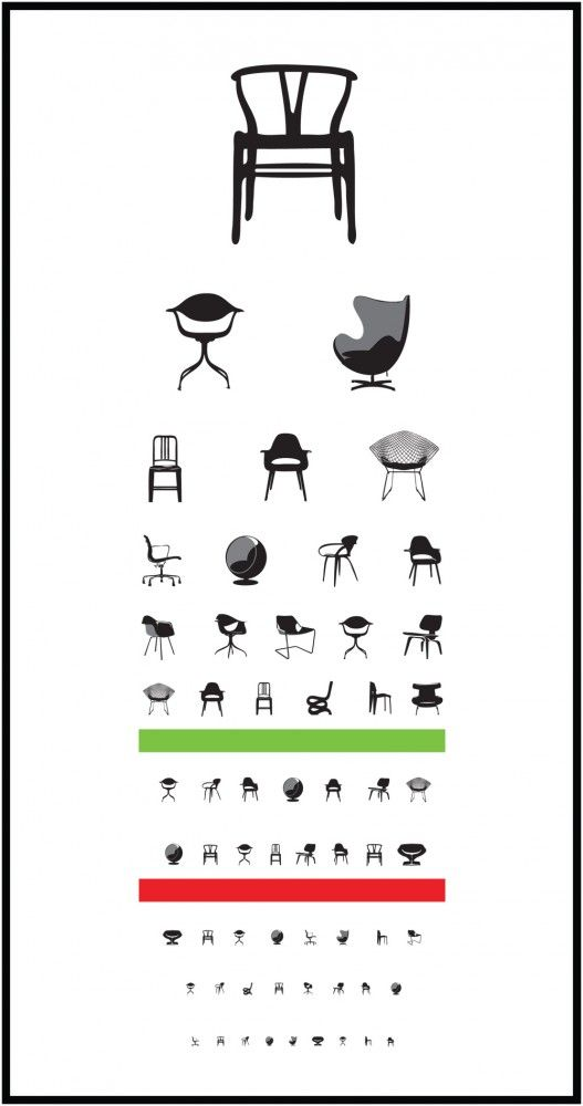 Snellen Eye Chart Reinvented for Designers and Chair Lovers