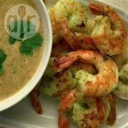 BBQ prawns with a spicy peanut-lime sauce