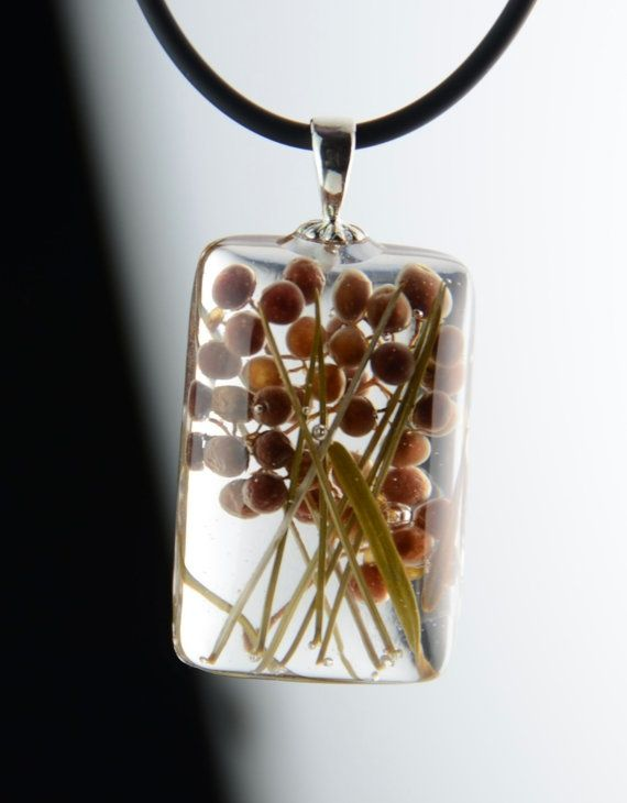 Clear Resin Sterling Nature Necklace from Etsy
