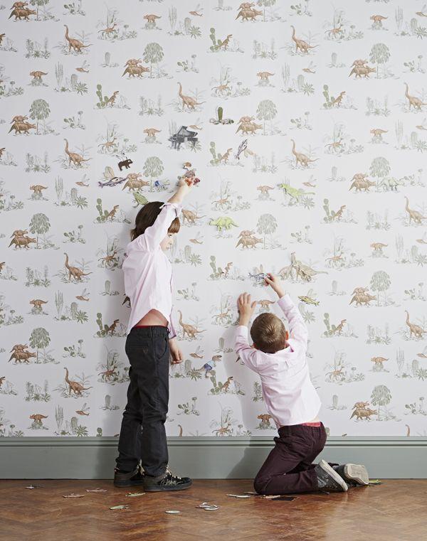Magnetic Dino Wallpaper - Pink Green - Sian Zeng