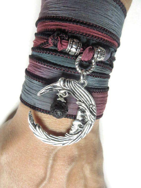 Crescent Moon Silk Wrap Bracelet Luna Yoga Jewelry Lava Rock Spiritual Bracelet Bohemian J... $28.90