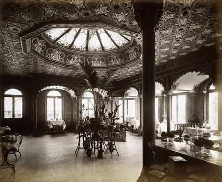 Interior view showing the tea rooms from the lift, at Derry and Toms.