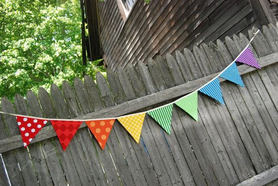 Rainbow Birthday Party Banner / Playroom Bunting -- in red, orange, yellow, green, blue, purple fabric flags
