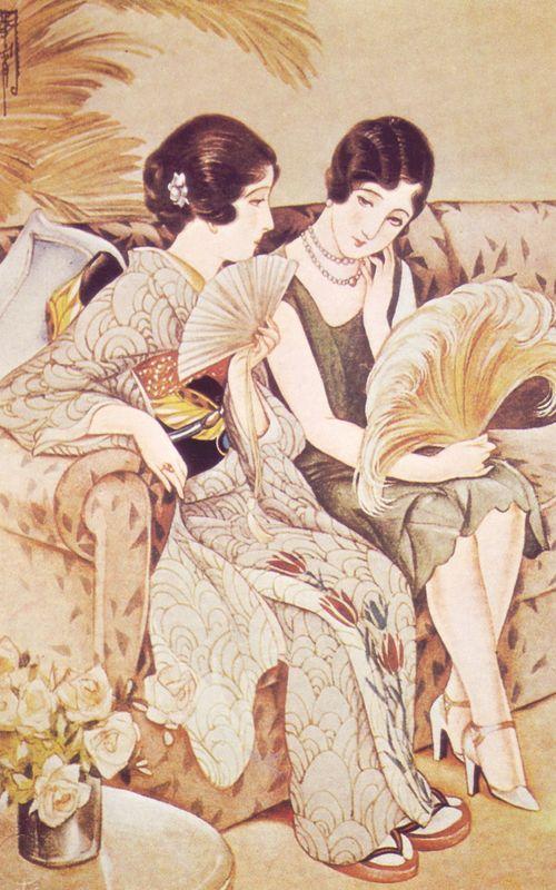 haikara-nippon: ふたつの扇Two Fans高畠華宵Takabatake Kashō1930 Takabatake Kashou 高畠華宵 (1888-1966)Futatsu no ougi ふたつの扇 (Two fans) - Japan - 1930