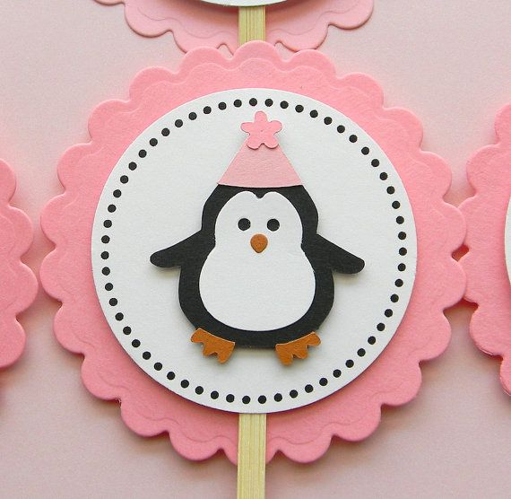 handmade PENGUIN birthday cupcake toppers by plumcakeparties