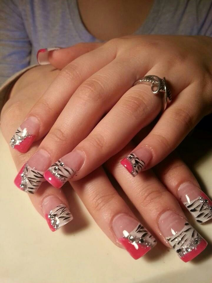 Pink, zebra, acrylic nails