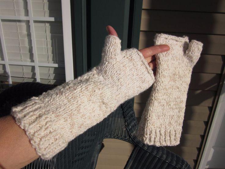 Arm Warmers Handmade Hand Knit Silk Cotton White Red/Brown Strand Arthritis Warm #HandmadebyHandcraftedinHebronCTUSA #FingerlessMittensHandArmWarmers