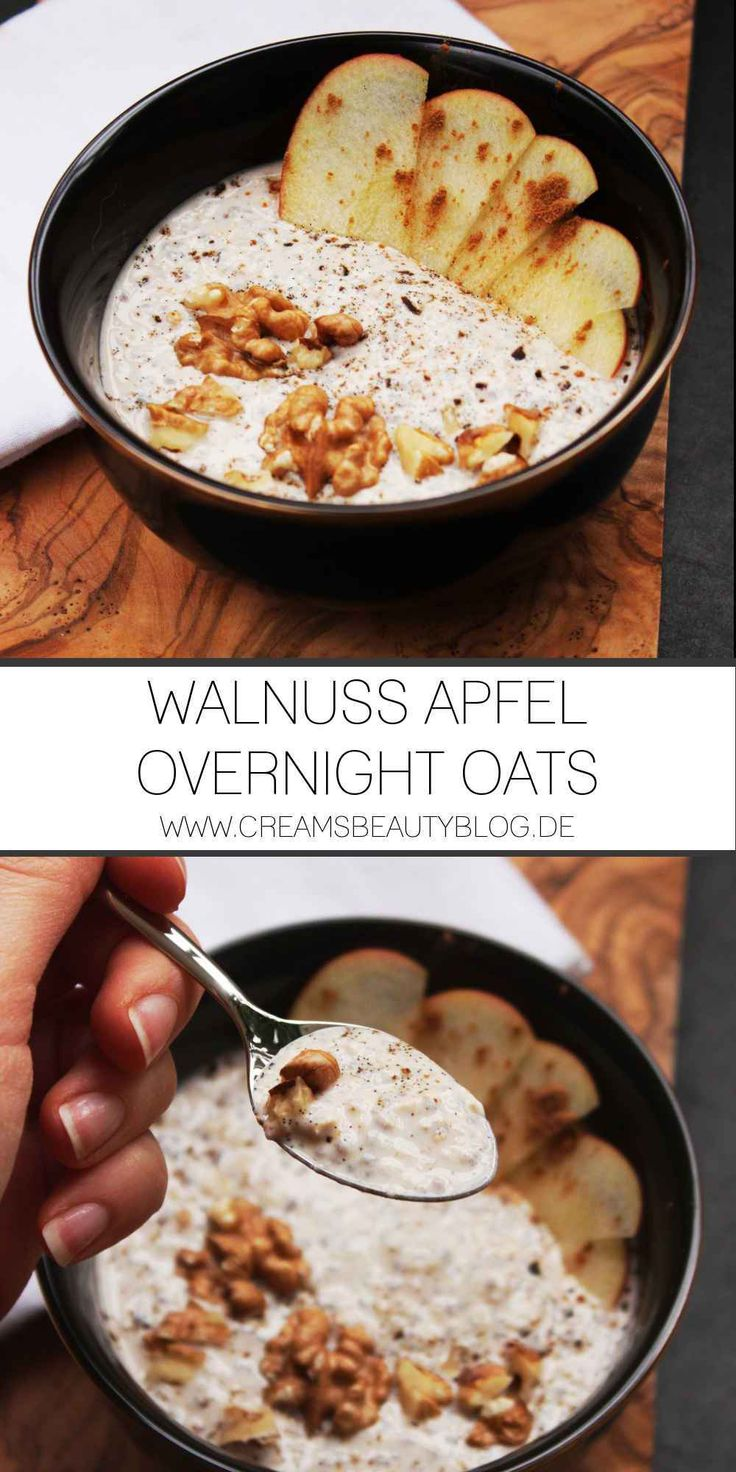 Walnuss Apfel Overnight Oats Rezept - ein leckeres, cleanes Frühstück mit der Süße von Äpfeln, gerösteten Walnüssen und Protein ohne Pulver!