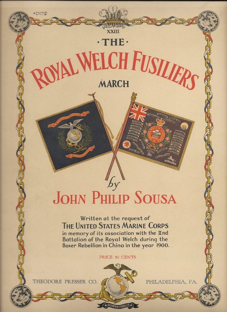 Cool Great 1930 The ROYAL WELCH FUSILIERS March JOHN PHILIP SOUSA Sheet Music US MARINES il  2017-2018