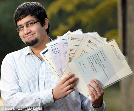 Ali Moeen Nawazish is a Pakistani student notable for passing 23 A-levels, making a world record.  He got 21 As, a B, and a C. Nawazish was interviewed by or quoted in newspapers and TV channels, including Times Online, The Telegraph, The Independent, and the BBC. He was awarded the Pride of Performance award in Pakistan.   Pakistanis rank 4th on global intelligence survey