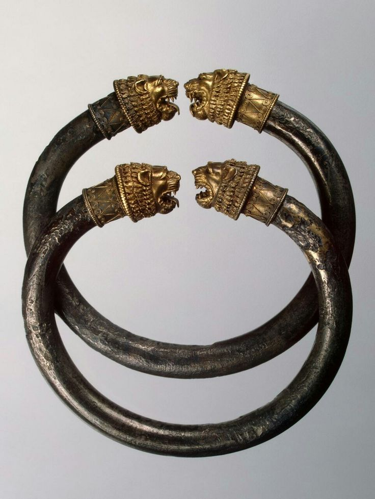 ~Bracelet with Open Terminals (Pair). Place: Bosporan Kingdom Date: Late 5th-early 4th centuries BC Place of finding: Panticapaeum Necropolis. Slab tomb Material: gold, silver