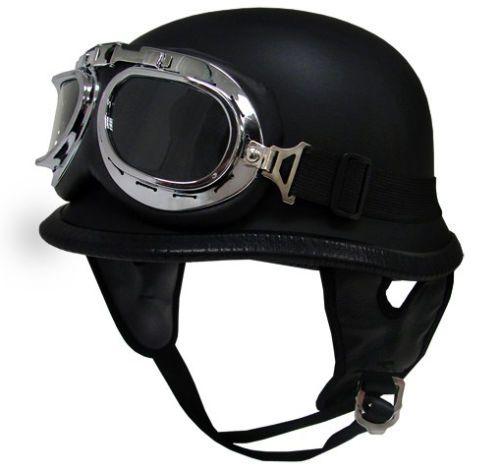 M Medium Dot German Motorcycle Half Helmet Chopper Bike Matte Flat Black Goggles | eBay