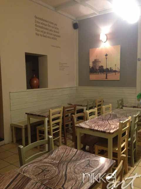 Foto op hout in Grieks restaurant in Brussel