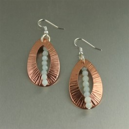 Tears of Joy!  Rendered in a chased texture, these elegant copper earrings showcase a strand of Amazonite suspended through the center of the open teardrops.  Makes a great 7th Wedding Anniversary present! #handmade #earrings: Copper Tear, Wedding Anniversary, Drop Earrings, Copper Earrings, Chased Copper, Handmade Copper Jewelry, Tear Drops, 7Th Wedding, Chased Texture