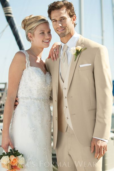 Luke and Groomsman's suits - Lord West Havana Tan Slim Fit Wedding Suit. Except vest is same color as jacket and tie is a chocolate brown stripe.