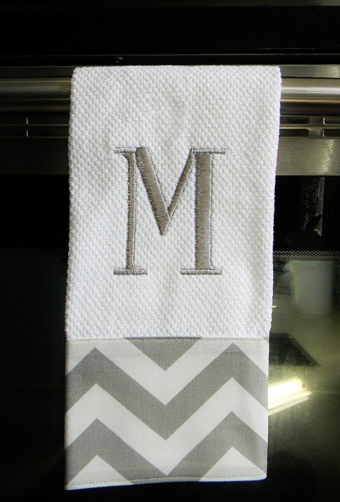 Grey and White Chevron Monogrammed  Dish Towel. $14.00, via Etsy.
