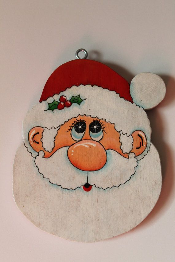 Tole Painted Wood Santa Face Ornament by JuliesCraftShop on Etsy