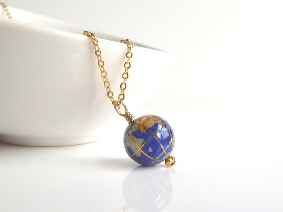 World Necklace  small genuine gemstone globe by ConstantBaubling