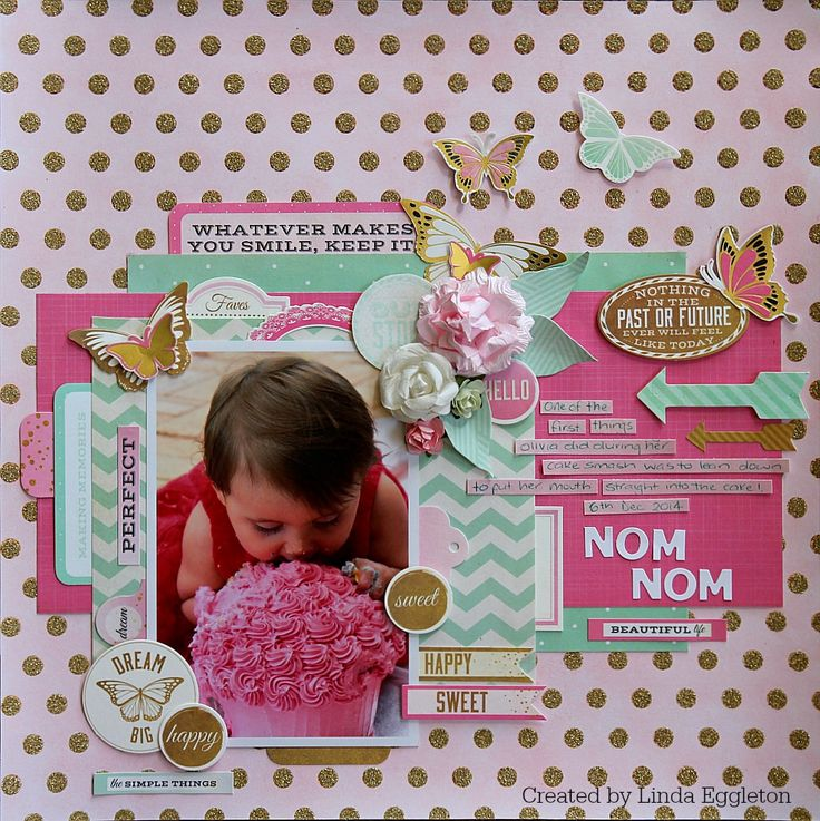 'Nom Nom' Layout [view 1] by Linda Eggleton for Kaisercraft using 'All that Glitters' collection ~ Scrapbook Pages 3.